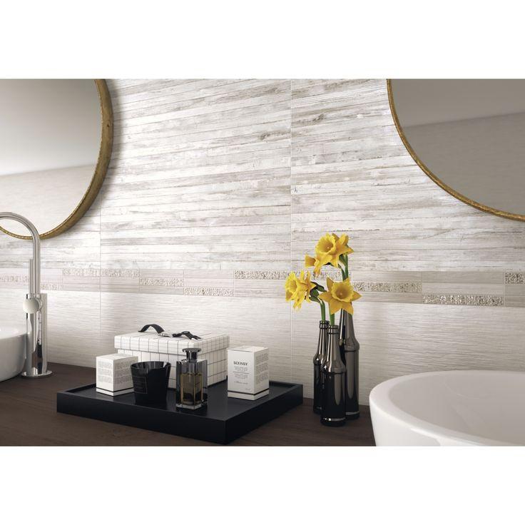 Carrelage mural décor salle de bain 26x60,5 Line Yute, collection Fiber NAXOS