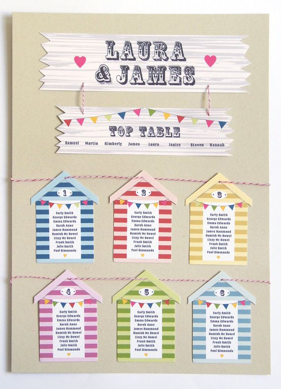 This cute & colourful wedding table/seating plan is just what you need to guide your wedding guests to their seats before the party gets started. Perfect for a wedding by the sea, with colourful beach hut tags (colours may be changed!) that are strung together with matching Divine Twine. All colours may be changed, just let me know the specifics when placing your order. You may choose colours from my colour chart or send me RGB/CMYK/pantone codes. :)  This is an unmounted A...
