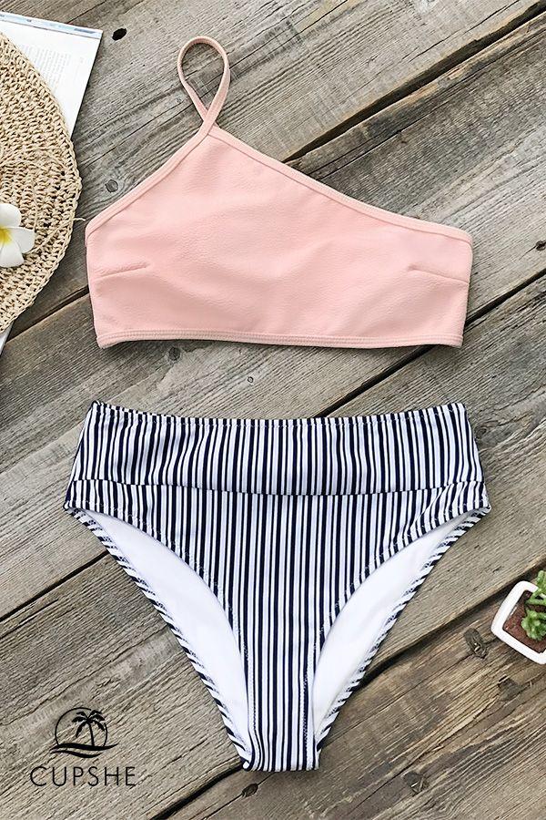 Pink One-shoulder Bikini Set