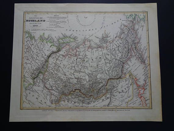 SIBERIA old map of Russia 1849 original antique maps vintage