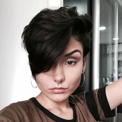 Idées Coupe cheveux Pour Femme  2017 / 2018   6 lutins ondulés et brunes avec de longues franges