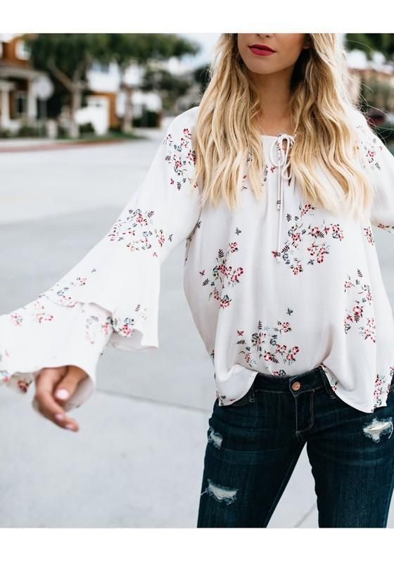 8d4e1bc1d13e49 White Flowers Print Lace-up Flare Sleeve Round Neck Going out Blouse ...