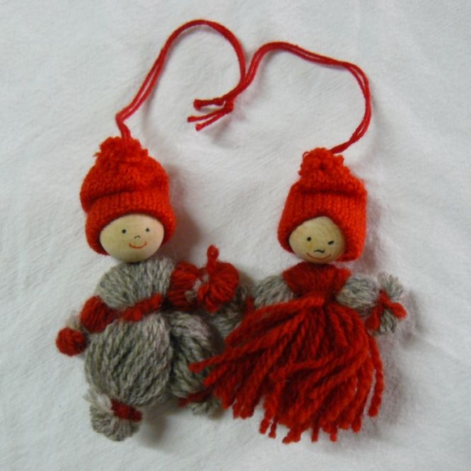 Braided Wool Ornaments, tomteflicka and tomtepojke