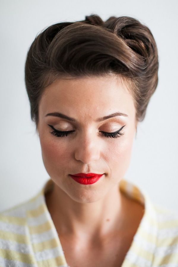 HAIR: try a french twist without bangs? MAKEUP: love the eyes. would do deeper red lips