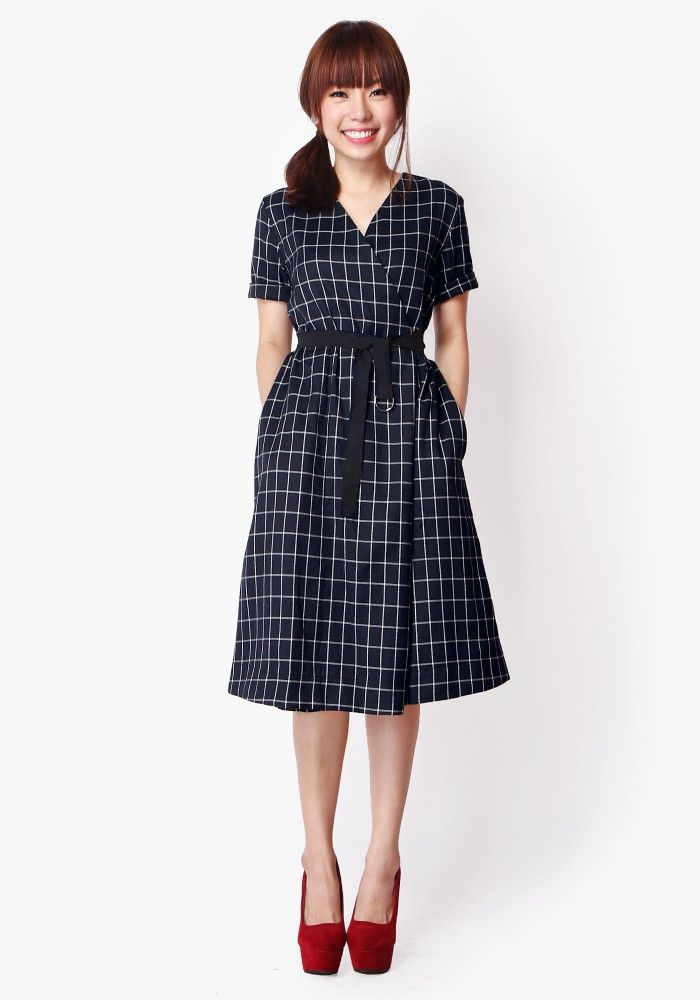 MIND OVER MATTER WRAP DRESS IN NAVY CHECKS