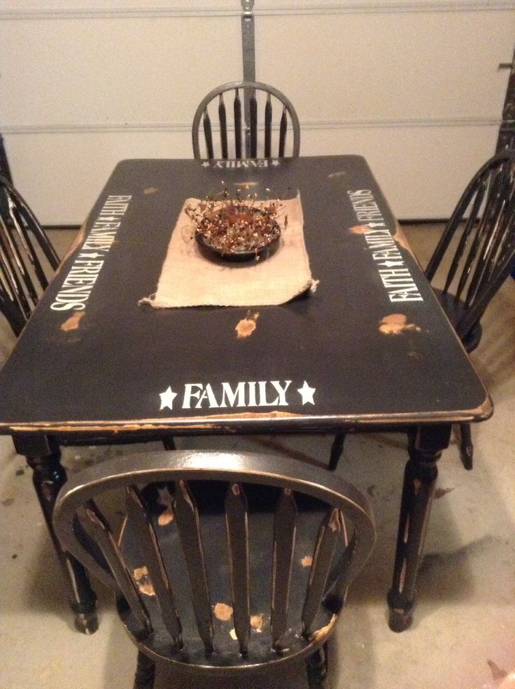 Primitive table, this can be a DIY project, simple. Thrift shop table, chairs don't have to match as long as they are painted the same as the table.