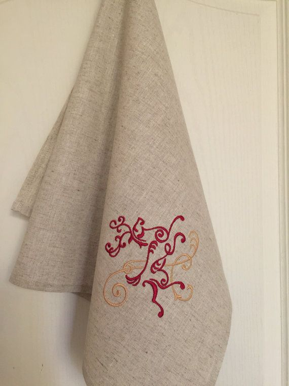 Tea Towel Linen Guest Hand Dish Towel Embroidery  by Rokasdarbi