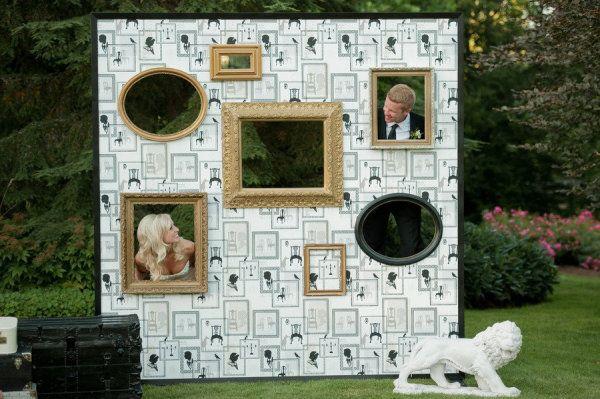 DIY photobooth wall for a rustic farm, barn, or garden wedding