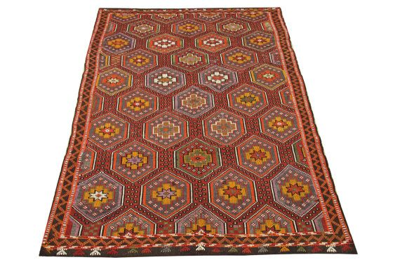 Turkish Vintage Kilim rugs 96 x 60 Feet Rustic by stripepattern