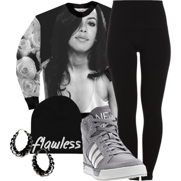 """""""RIP Aaliyah"""" by jeweliana86. Polyvore. Adidas Sneakers. Aaliyah Top. Sweater. Leggings. Swag. Hip Hop Fashion. Urban Outfit. Urban Fashion. Dope. Trill"""