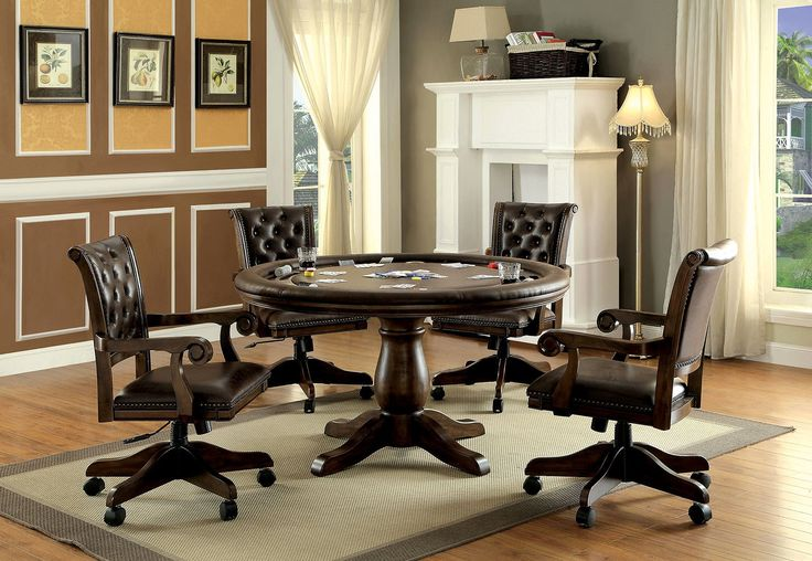 Take your game room to the next level with this handsome and luxurious game table. Carved inserts hold poker chips while cup holders keep your leatherette table