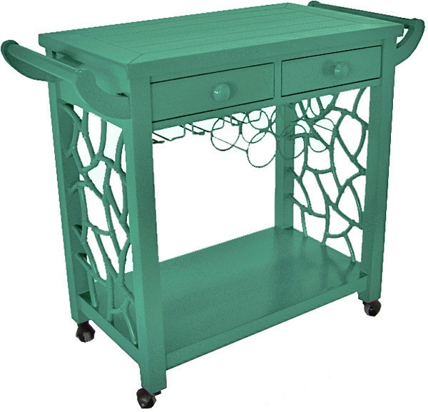 nothing reads 'a classy, sassy broad' like a bright teal bar cart stocked with booze