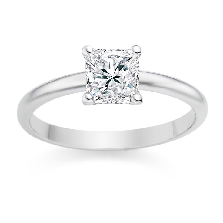 Princess Cut 0.35 Carat D/VVS1 18k White Gold Diamond Engagement Ring