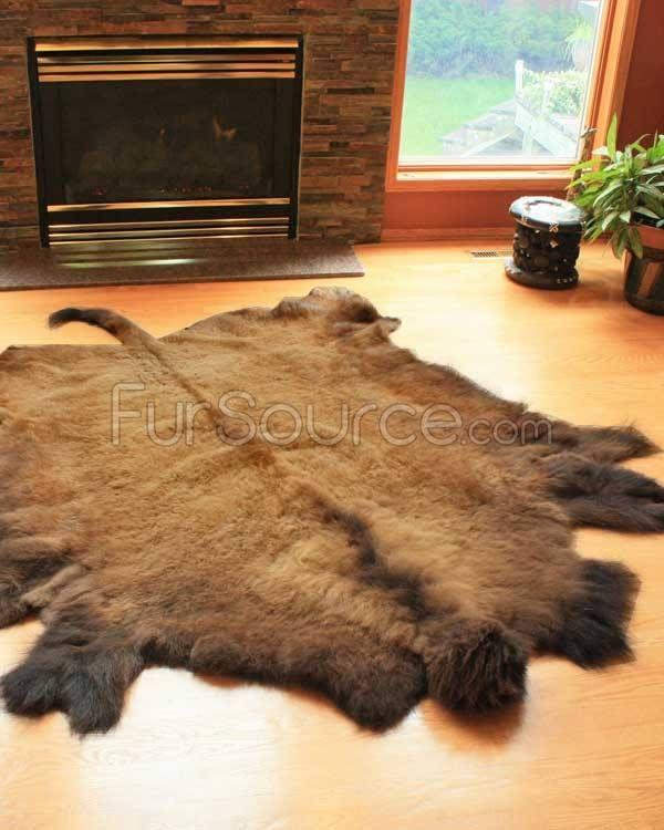 XL Buffalo Robe / Bison Hide Rug (40-45sq Ft) Http://www