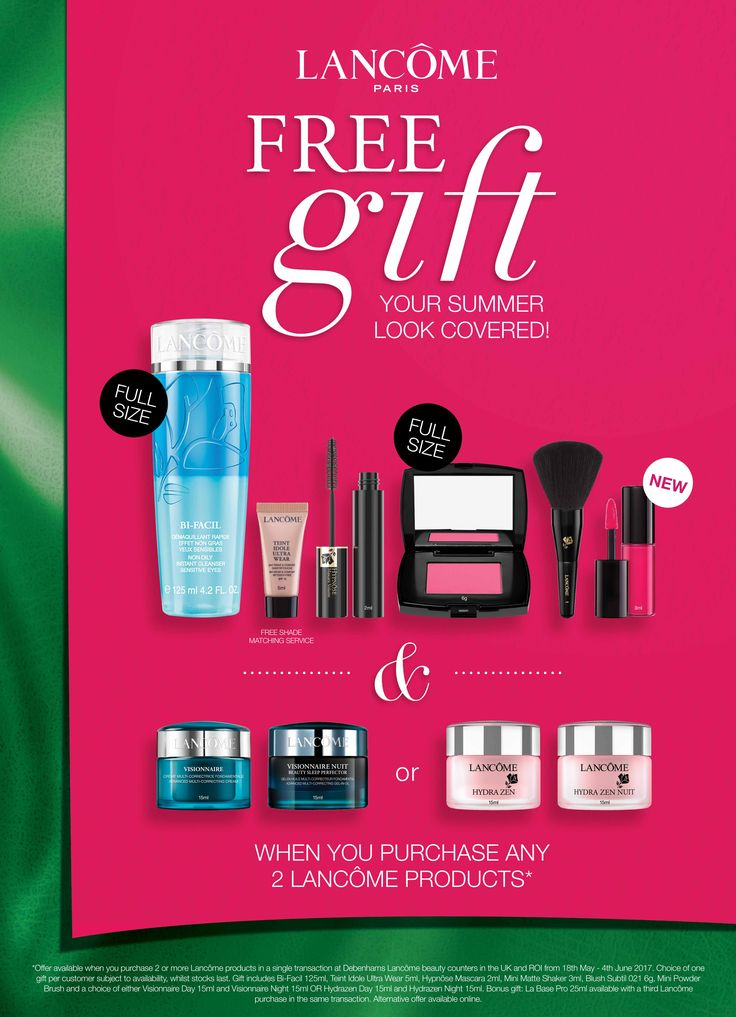 Get your summer look sorted with this great offer from Lancôme @debenhams  !  Buy 2 products and receive this 7 piece gift which is stunning and great value! Starts this Thursday 18th so don't miss out!!!