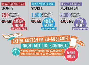 """Lidl Connect: Roamingebühren ab sofort gestrichen, Datenvolumen erhöht https://www.discountfan.de/artikel/tablets_und_handys/lidl-connect-roamingebuehren-ab-sofort-gestrichen-datenvolumen-erhoeht.php Der Mobilfunk-Discounter """"Lidl Connect"""" hat seinen Tarif deutlich verbessert: Zum einen wurden die Inklusiv-Einheiten bei den Datenflats erhöht, zum anderen sind die Freiminuten, -SMS und -MByte jetzt auch im EU-Ausland kostenlos nutzbar. Da die Pakete monatlich"""