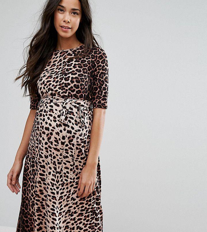 Asos PETITE Midi Dress In Leopard Print