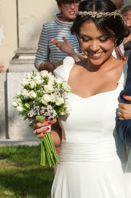 Ramo de novia blanco y verde. Vestido #AlejandraSvarc