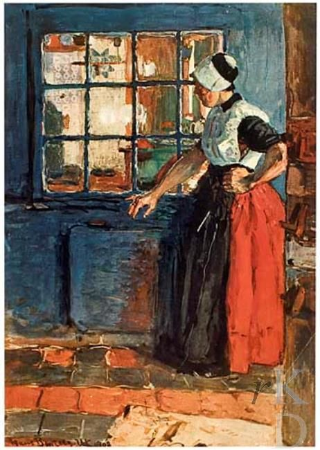 Hans von Bartels Urk Staande vrouw voor een raam 1870-1913 #Urk