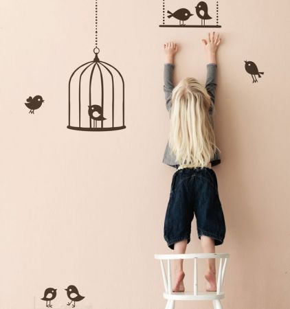 Ferm Living muursticker vogeltjes tweeting birds brown