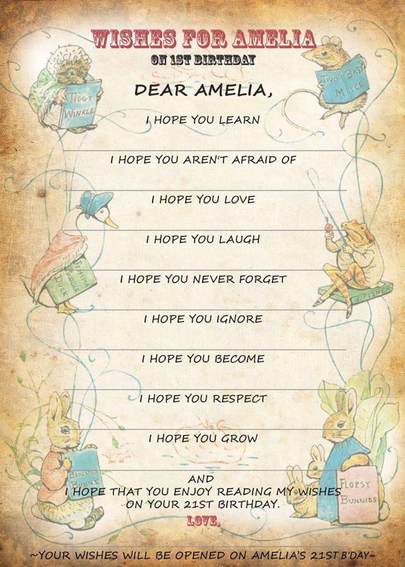 Peter Rabbit Wishes, Beatrix Potter Baby shower, First  Birthday, Personalized, Will be open on baby's 21st Birthday included - TWO DESIGNS