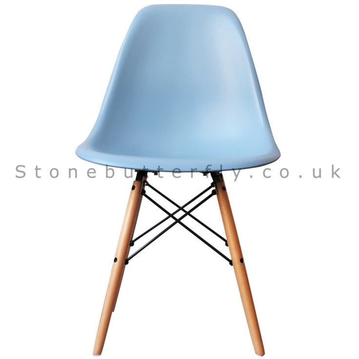 Charles Ray Eames Style DSW Side Chair Natural legs - Blue