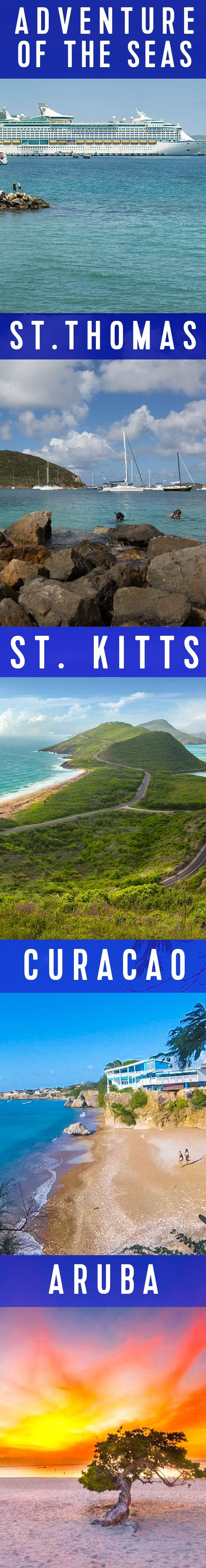 Adventure of the Seas 7 Night Cruise | Five adventurous destinations in seven nights. Sail from historic San Juan through the Southern Caribbean, making stops in glitzy St. Thomas, tropical St. Kitts, rugged Curacao, and sunny Aruba. Cruise with Royal Caribbean and see every side of these unique locales. (Photo credit Aruba: Sophie; Photo credit Curacao: Irie Tours Curacao)