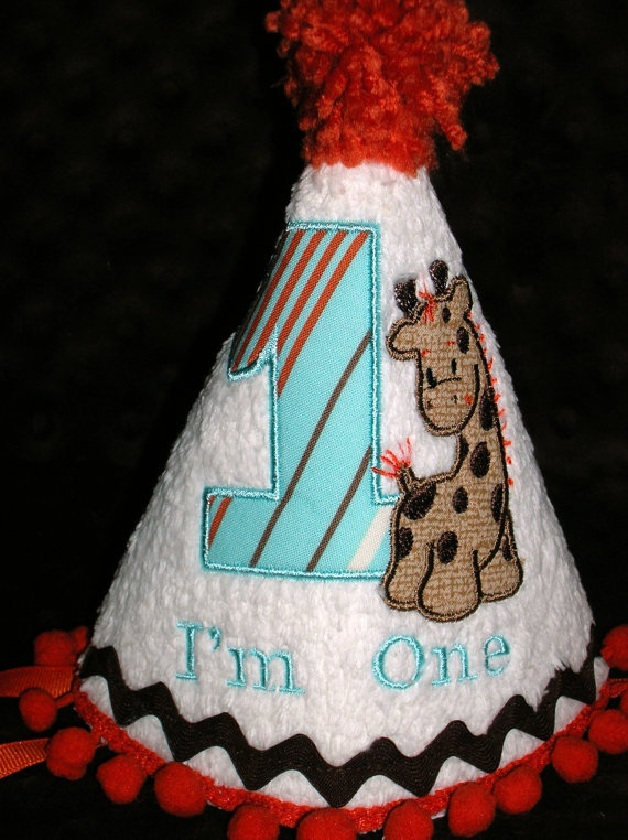 BOY'S FIRST BIRTHDAY Hat Giraffe Applique I'm by kutekidskreations, $22.00