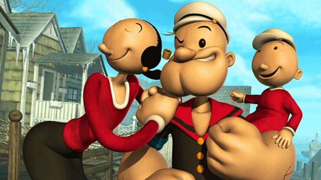 """Popeye and his family, Olive Oyl and Swee'pea appear in the animated special """"Popeye's Voyage: The Quest for Pappy."""" Description from today.com. I searched for this on bing.com/images"""