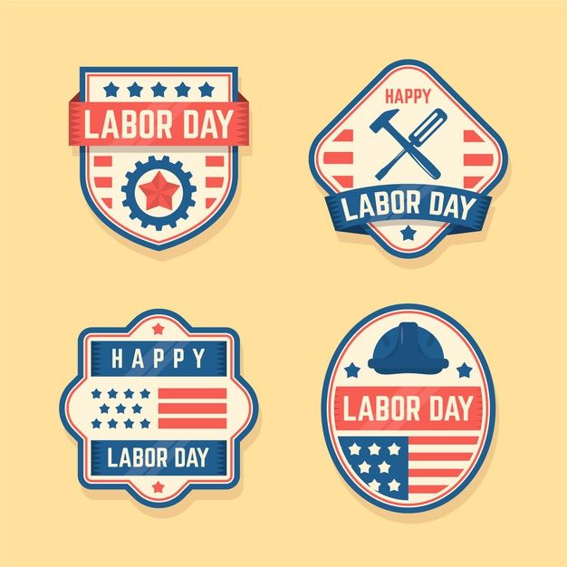 Hand Drawn Labor Day Badge Collection: Download Vintage Labor Day Label Set For Free