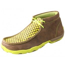 Twisted X Men's Driving Mocs Brown Bomber with Neon Yellow Basket Weave Instep