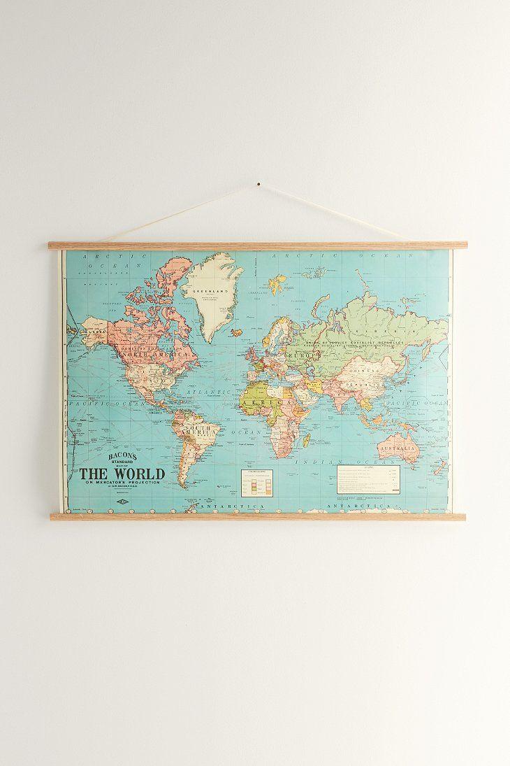Vintage World Map PRINTABLE Map Print Instant Digital