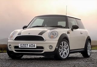 Cream-colored Mini Cooper S (wouldn't mind having THIS be my home!)