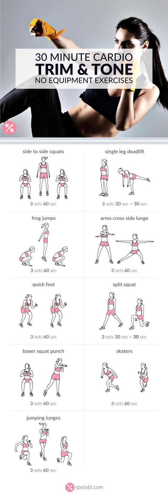 Work your legs, hips and glutes with these lower body and cardio exercises. A 30 minute workout, perfect for burning a ton of calories in a short period of time. http://www.spotebi.com/workout-routines/no-equipment-lower-body-and-cardio-exercises/Work your legs, hips and glutes with these lower body
