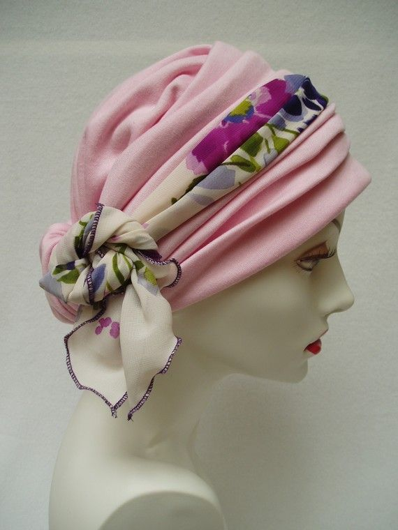 Headwrap Pink Chemo Hat  Alopecia Cancer Headwrap by NinisNiche, $47.00