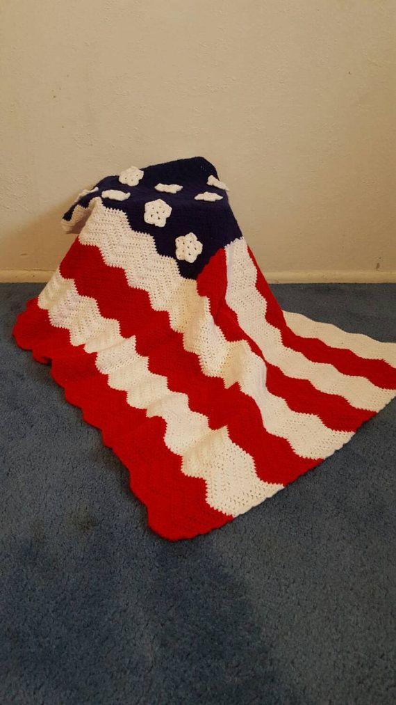 Handmade American flag decorative crochet by MyCrochetBlankets