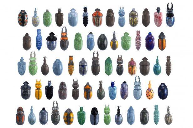RaR (B. Reinheimer en U. Rehm), ''Schwarm'', 2010, Installatie van 63 verschillende kevers, porselein, 160x240x20 cm, collectie RaR (Beate Reinheimer Ulrike Rehm),