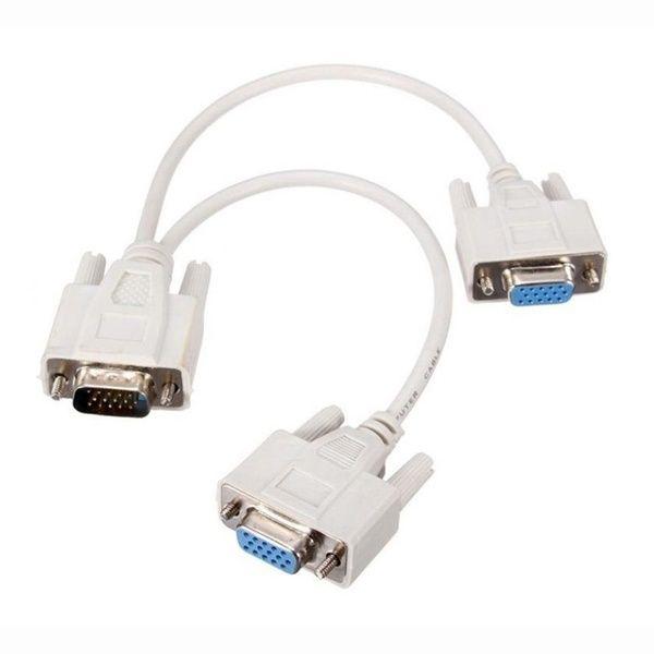 15 Pin VGA Male to Dual VGA SVGA Female Adapter Cable Splitter Monitor Video