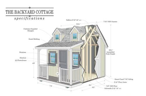 """Do It Yourself Floor Plans: Backyard Cottage Do-It-Yourself 7'4""""W X 8'4""""L Playhouse"""