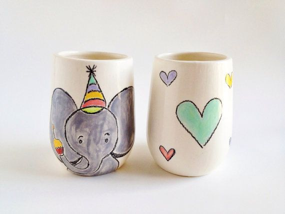Elephant Ceramic Cup Mug - Heart Ceramic Cups - Ceramics and Pottery - Colorful Ceramic Cups on Etsy, $34.00