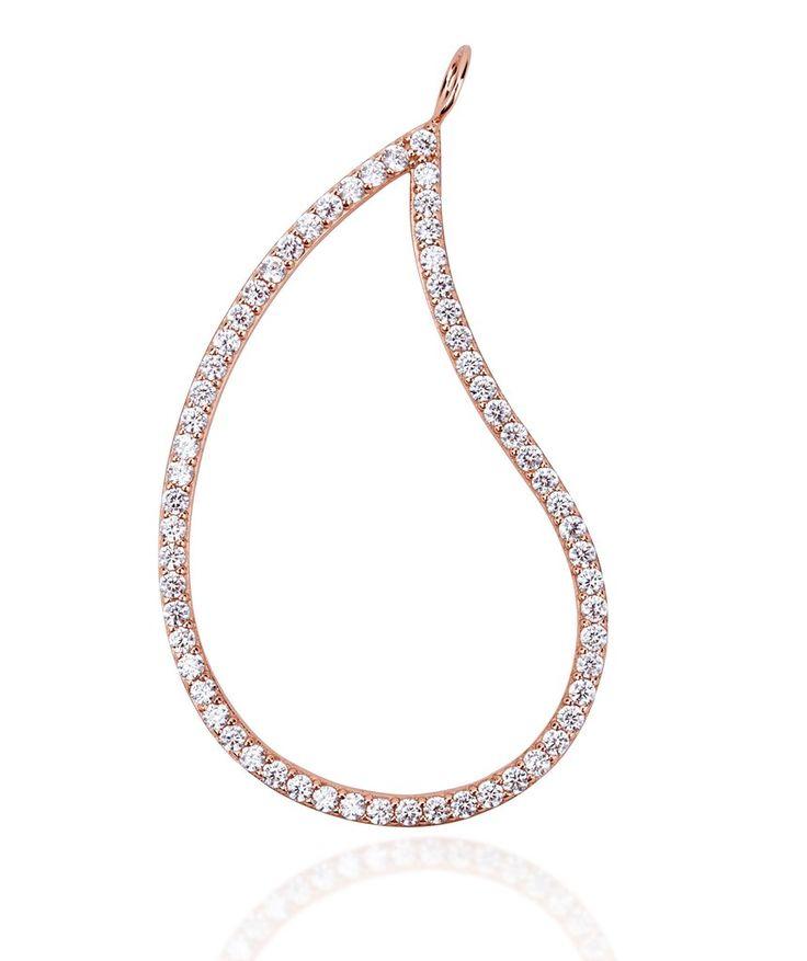 Large paisley pink gold vermeil charm pendant