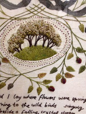 Embroidery design by Robyne Melia, quote by Robert Burns.