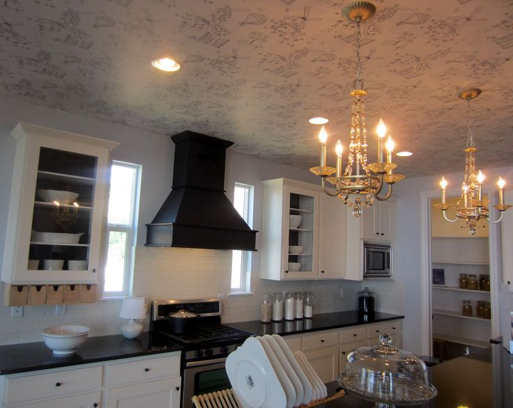 coastal kitchen ceiling colors | Down to Earth Style: Wallpaper on the Ceiling