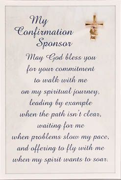 8 best confirmation images on pinterest catholic confirmation honor the tradition of choosing a sponsor for your confirmation with a blessing in a letter spiritdancerdesigns Gallery