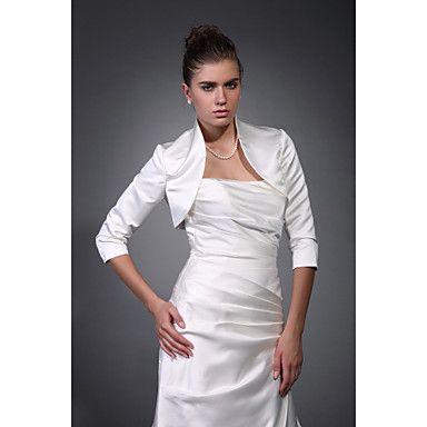 Beautiful 3/ 4-Length Sleeves Satin Bridal Jacket/ Wedding Wrap – USD $ 29.39