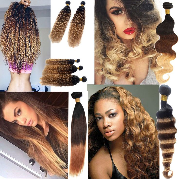 New Ombre Brazilian Real Human Hair Extensions Body Wave 3 Tone Hair Weft Weave #WIGISS #HairExtension
