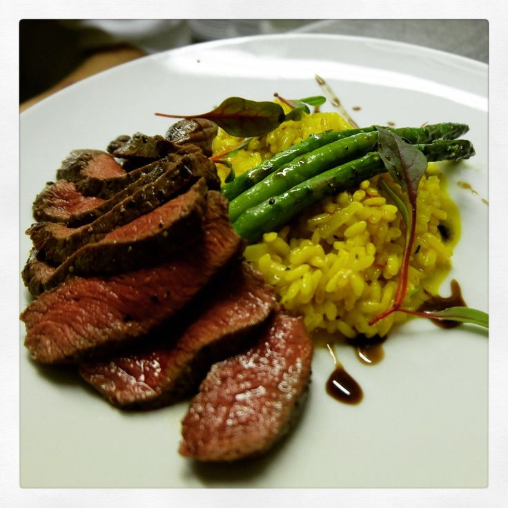 Carne di cervo.  Cornish venison fillet with Milanese risotto, grilled asparagus and balsamic reduction.