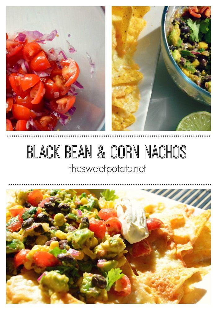 black bean & corn nachos