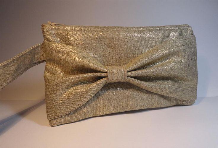 pochette noeud en lin dor et doublure tissu japonais sac a main. Black Bedroom Furniture Sets. Home Design Ideas