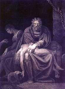 Autore: Johann Heinrich Fussli  Nome dell'opera: Il conte Ugolino nella torre con i figli  Data: 1806 Tecnica: incisione  Collocazione: Zurigo, Kunsthaus